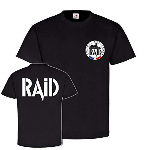 T-shirt RAID Police Nationale Recherche Assistance Intervention Dissuasion Insert France Unité spéciale Anti Terror #21353 - Noir - XX-Large
