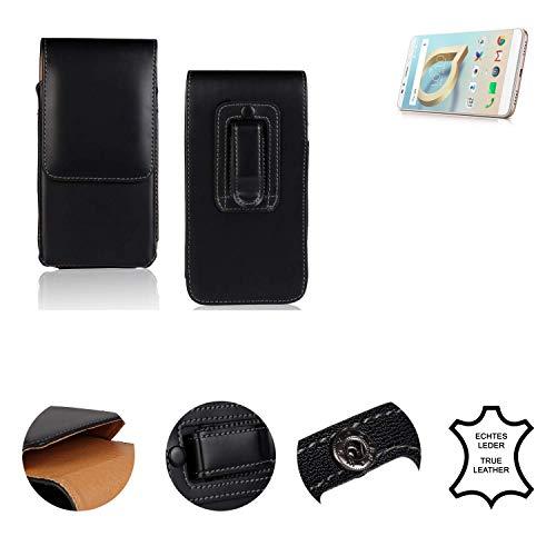 K-S-Trade® Holster Gürtel Tasche Für Alcatel A7 XL Handy Hülle Leder Schwarz, 1x