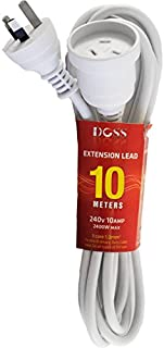 EXL10M DOSS 10M Power Extension Lead White Doss PVC Ordinary Duty Cable with Fully Moulded 3 Pin Plug and Socket PVC Ordin...