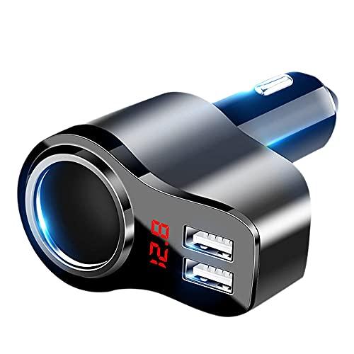 Notewisher Cargador de Coche Adaptador de Corriente USB Dual con Pantalla Digital Carga RáPida Cargador de Mechero con Pantalla de Voltaje