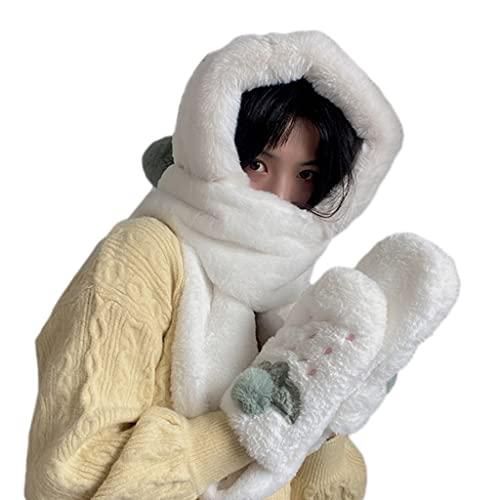 RG-FA Bufanda con capucha Invierno Invierno Sombrero Bufanda Guantes Set Para Nio Sombrero De Invierno Femenino Coreano Cartoon Cap Con Capucha Nios Lindos Felpa - Blanco Lcteo