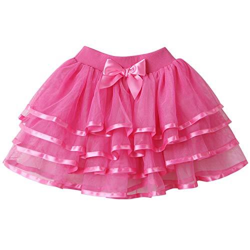 Adore Gonna tutù in Tulle Abitini Balletto per Bambina Rosa Rosso 6-7 Anni (Dimensioni del Produttore: 130)