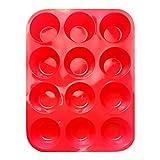 Hangnuo, teglie in silicone per muffin, 12 tazze, cupcake, stampi da forno, antiaderenti, lavabili in lavastoviglie, adatti al microonde (rosso)