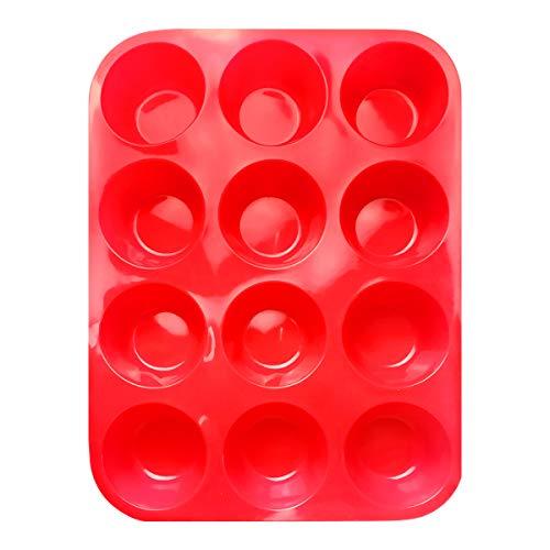 Hangnuo - Moldes de silicona para magdalenas (12 tazas, antiadherentes, aptos para lavavajillas, microondas), color rojo
