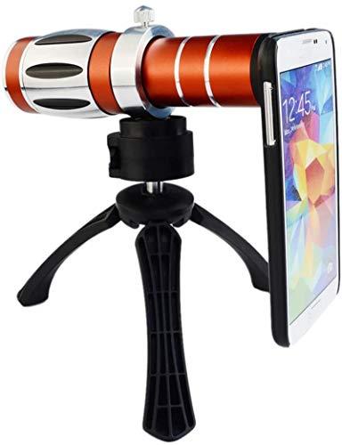 MWKLW Teleobjetivo con Zoom 20X Compatible con iPhone 5 4 / 4S + trípode + Soporte + paño de Limpieza + Funda de Vidrio óptico de aleación de Aluminio, Samsungnoteseries