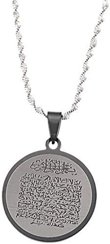 Xianglsp Co.,ltd Acero Inoxidable árabe Ayat Al Kursi Oración Santo Corán Verso Colgante Collar Islam Islam Corán Joyas