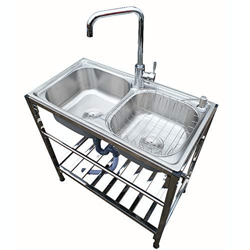 LIZIWEI Double Tank Modern Practical Stainless Steel Mobile Garden Outdoor Kitchen Sink Commercial Sink for Indoor Outdoor Garage Kitchen Laundry