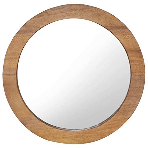 VidaXL Teck Miroir Mural Miroir Suspendu Miroir Décoratif Salon Salle de Séjour Salle de Bain Chambre à Coucher Maison Intérieur 60 cm Rond