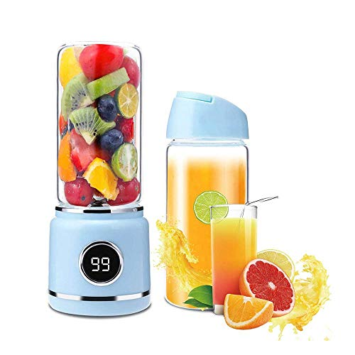 Qinmo Juicer machinesPortable Blender, Mini Travel Fruit Usb Juicer Cup, Personal Small Electric Juice Mixer Blender Machine With 2500Mah*2 Rechargeable Battery 420Ml Water Bottle, blue