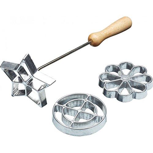 Kitchen Craft KCHMROSETTE Swedish Rosette Waffle Iron/Cookie Mould Set, Metal, Argent, 4 Pieces