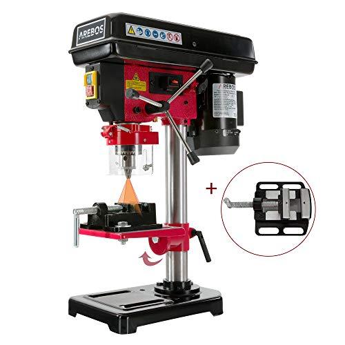 Arebos Tischbohrmaschine | mit integriertem Positionslaser | 500 W | inkl. 16mm Zahnkranzbohrfutter und Schraubstock |