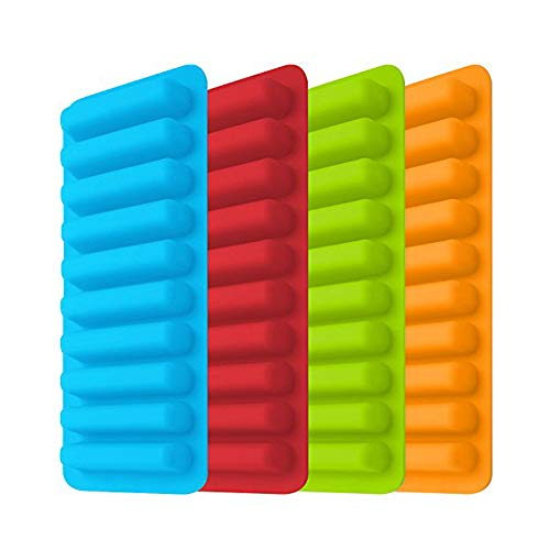 NHAO Stick ice Cube Tray [4 Pieces] Easy Release Flexible Silicone Ice Cube Tray Moulds,Silicone Ice Cube Trays,Silicone,Ideal for Sports and Water Bottles,Best for Freezer,Water, Whiskey