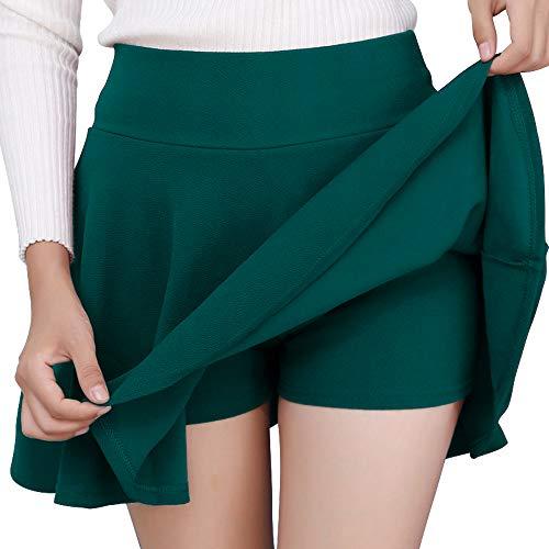 DJT FASHION Damen Mädchen Basic Solid vielseitige dehnbaren informell Mini Skater Rock Grün Large