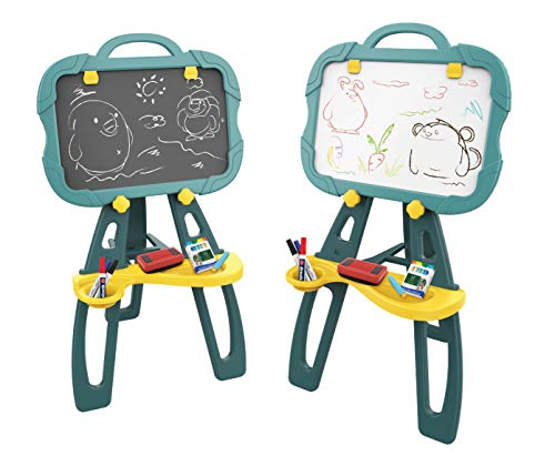 Coodoo Toddler Easel | 4 in 1 Magnetic Board, Chalkboard, Painting Easel, and Drawing White Board for Kids | Easy Storage with Extra Accessories for 3-5 Year Old Boys and Girls