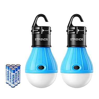 2 Pack E-TRENDS Portable LED Lantern Tent Light Bulb for Camping Hiking Fishing Emergency Lights, Battery Powered Lamp with 6 AAA Batteries, Blue