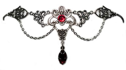 Moon Maiden Jewelry Art Nouveau Filigree Headpiece w/Ruby Red Stones
