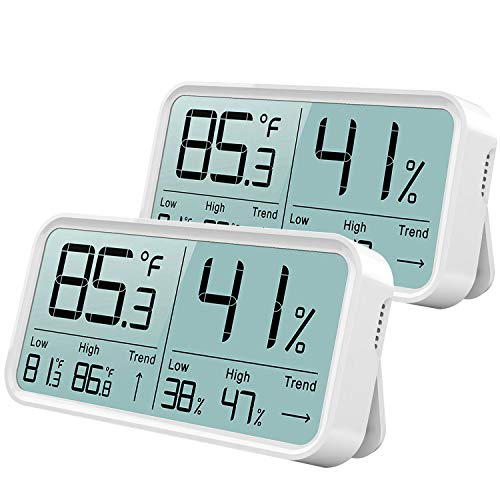 BFOUR Hygrometer Innen, Digital Thermometer Hygrometer Feuchtigkeit Thermo-Hygrometer Luftfeuchtigkeitsmessgerät Raum Temperaturmesser (2 Pack Weiß)