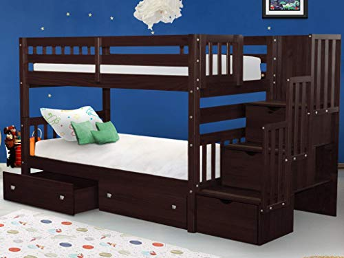 Bedz King Stairway Bunk Beds Twin over Twin with 3 Drawers in the Steps and 2 Under Bed Drawers, Dark Cherry