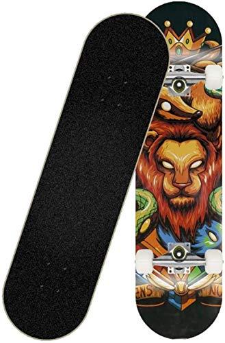Woodtree Skateboard Trucos for Adultos de 31 Pulgadas Tabla de Skate, Plataforma de Doble Patada Cóncavo de Cuatro Ruedas Monopatín de Arce Snubby Doble,Color:B (Color : C)