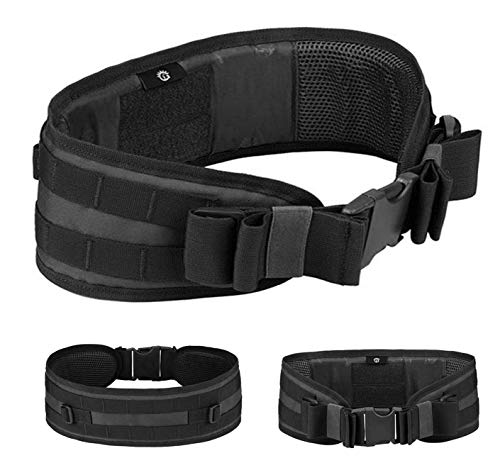 Selighting Tactical Padded Combat Belt, Heavy Duty Capacity For Hunting, Shooting, Airsoft, One Size, Black