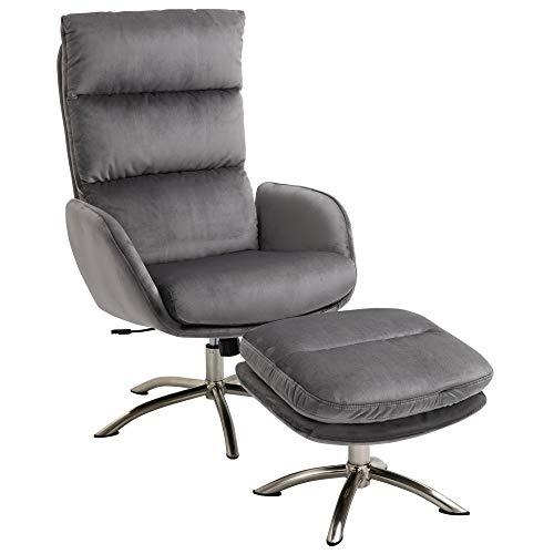 HOMCOM Relaxsessel mit Hocker Fernsehsessel mit Wippenfuntion Stahl Samt Grau+Silber 68 x 74 x 107 cm