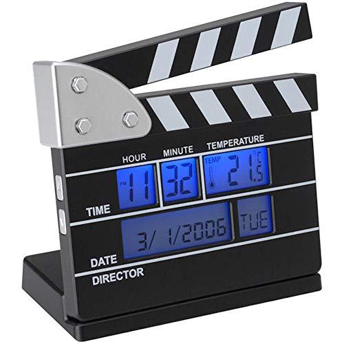La Chaise Longue 31-C2-142 Réveil numérique Mini Clap de cinéma Noir et blanc Affichage rétro-éclairé bleu Horloge calendrier et thermomètre H11 x 5 x 11 cm