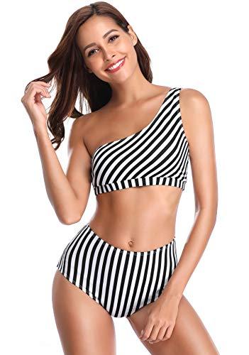 SHEKINI Women's Removable Halter Strap Bandeau Swimsuit Bikini Suit (Small/(US 4-6),Manhattan Black)