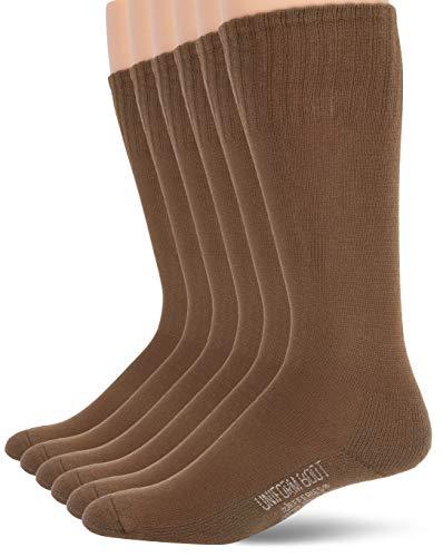 Jefferies Socks mens Military Rib Top Combat Crew Boot 6 Pack Casual Sock, Coyote Brown, Shoe Size 5-8 US