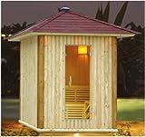 Holzart: Innen-Tanne, Außen-Fichte Elektrischer Ofen HARVIA 6 kW Bänke: 2 Stufen Sicherheitsglas 6 mm 20 KG Saunasteine, Eimer + Gießlöffel, Hygro Thermometer