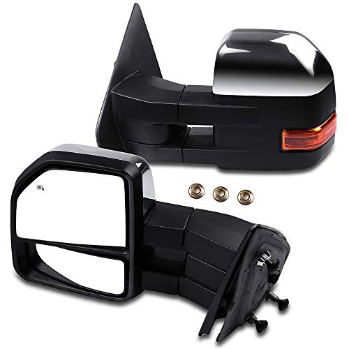 Purchase ANGLEWIDE Left Driver and Right Passenger Towing Mirrors Power Adjusted Heated Turn Signal Puddle Light Chrome Housing Compatible for 2007-2015 F150 Pickup