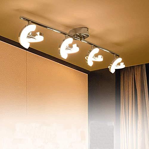 PADMA LED Deckenlampe Strahler Küche Modern Warmweiß 4 x 5W mit 2 Schwenkbar Blätte 3000K 1600 Lumen Winkelverstellbar für Schalfzimmer Wohnzimmer Büro