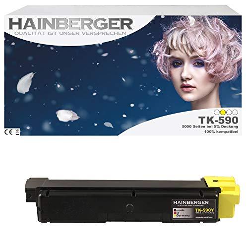 Hainberger Toner für Kyocera TK590 Yellow für ECOSYS M6526cdn / FS-C5250DN / ECOSYS P6026cdn / FS-C2126MFP / ECOSYS M6026cdn / FS-C2026MFP / FS-C2626MFP / ECOSYS M6526cidn / FS-C2526MFP / ECOSYS M6026cidn