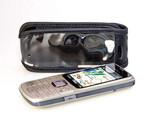 caseroxx Hülle Ledertasche mit Gürtelclip für Nokia 2710 aus Echtleder, Tasche mit Gürtelclip & Sichtfenster in schwarz