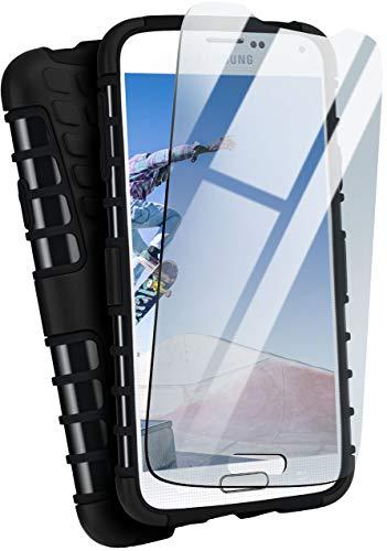 moex Panzerhülle kompatibel mit Samsung Galaxy S5 / S5 Neo - Handyhülle mit Panzerglas, extrem stoßfest, Panzer Outdoor Hülle 360 Grad, Schwarz