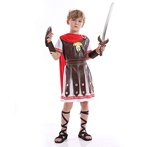 N / A Cosplay Halloween Novedad Regalo Disfraz para niños Antiguo Guerrero Romano Navidad Gladiador Príncipe Disfraz de actuación Body Height:120-135cm