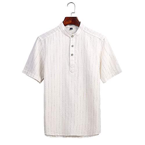 Camisa de Cuello Alto con Botones para Hombre Camisa de Manga Corta con Estampado de Rayas Retro Camisa de Moda Informal Transpirable Slim Fit Medium