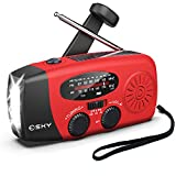 Hand Crank Radio with Flashligh for Emergency, Esky Portable Solar Radios, Self Powered AM/FM NOAA Weather Radio with 1000mAh Power Bank Cell Phone Charger, USB Rechargeable, Great Emergency Supplies