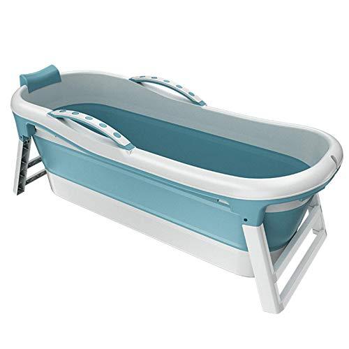 Bañera Plegable Bañera Plegable para Adultos Bañera Plegable Bañera portátil Cubo de baño Portátil con Tapa Independiente Plástico Hogar portátil, Azul