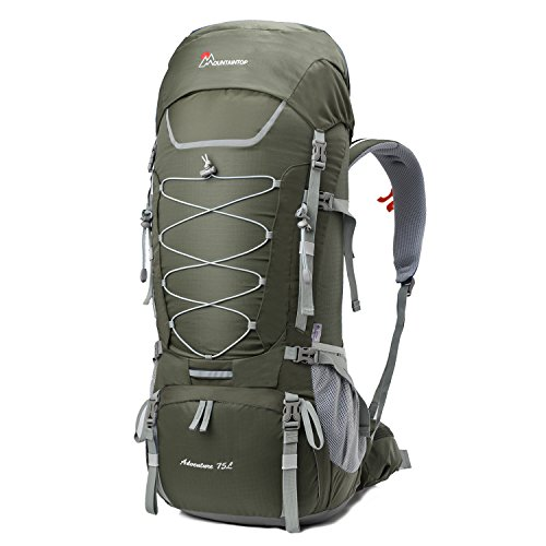 MOUNTAINTOP 70L/75L Internal Frame Hiking Backpack (75L-Gray)