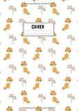 Cahier: Grand format A4 - 120 pages lignées - Motif forêt avec animaux et petit renard mignon sourire aux lèvres.
