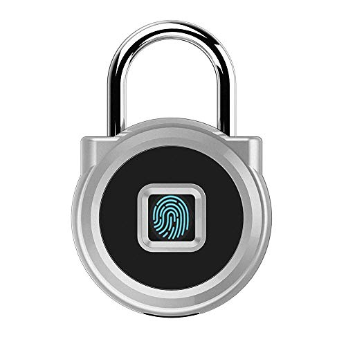BOC 南京錠 指紋認証 防水 タッチロック 小型スマートロック 指紋ロック 20名の指紋 キー 不要 USB充電式 錆びない アルミ合金製リュック 荷物ケース スーツケース (銀)