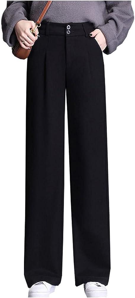 Ladyful Women's Straight Leg Woolen Blend Pant High Elastic Waisted Trouser