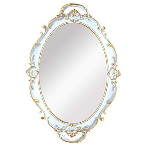 OMIRO - Espejo decorativo de pared, diseño vintage tallado, para dormitorio, sala de estar, color blanco envejecido, M