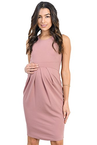Mauve Knee length maternity dress with front pleat
