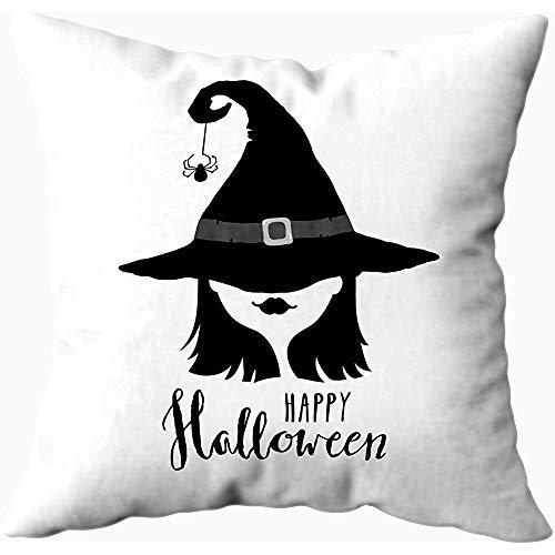 Ducan Lincoln Pillow Case 2PC 18X18,Kissenbezüge,Happy Halloween Grußkarte Mit Hexe In Hut Schwarz-Weiß-Design-Elemente Sofa Kissenbezüge,Dekokissenbezüge