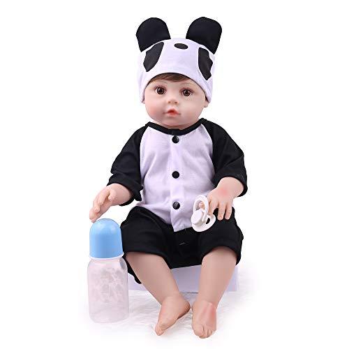 CHAREX Reborn Baby Dolls Silicone Full Body, 18 Inch Lifelike Washable Newborn Baby Boy, Realistic Waterproof Reborn Toddler Wearing Panda Clothes