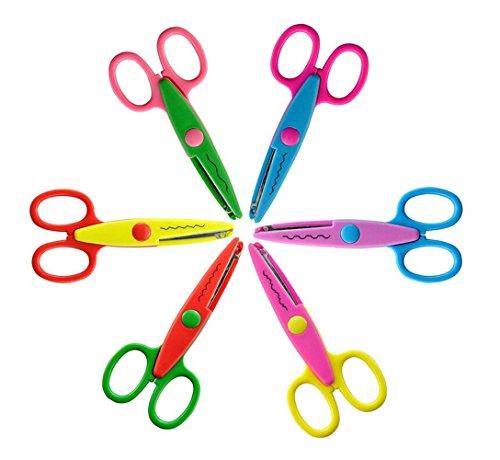 Lote de 6 tijeras para artesanía, cortar fotos y papel, diversos diseños (1)