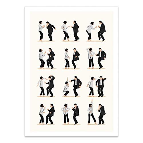WALL EDITIONS Art-Poster - Pulp Fiction Dancing - Nour Tohme - Format : 50 x 70 cm