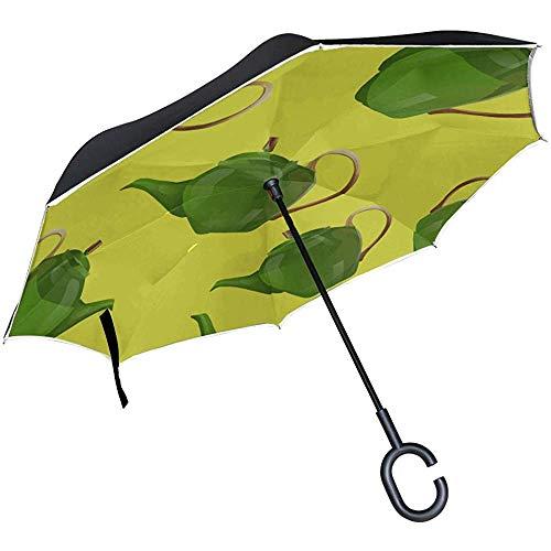 ETGeed Inverted Light Folding Umbrella Schöne Retro Cute Kettle Flowers Folding Umbrellas Folding Parasol Umbrella