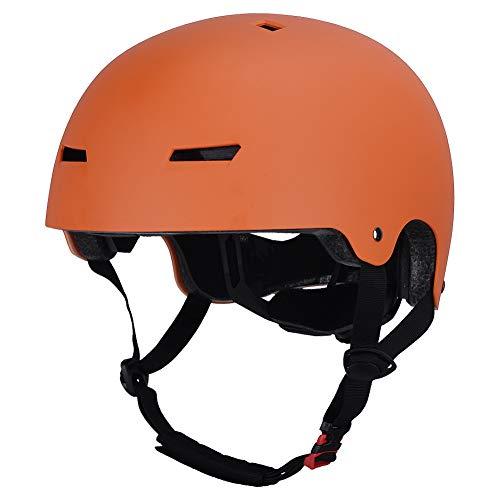 LOOGU Casco ajustable para monopatín, certificado CPSC, para patinaje, monopatín, BMX Scooter para niños, jóvenes, adultos, M naranja